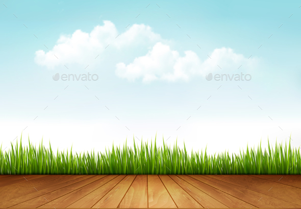 Nature Background with a Wooden Deck - Landscapes Nature