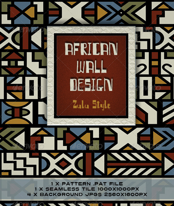 African Design; Zulu Ndebele Wall Painting - Patterns Backgrounds