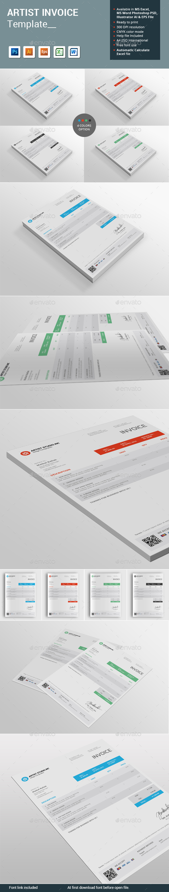 Artist Invoice Template - Proposals & Invoices Stationery