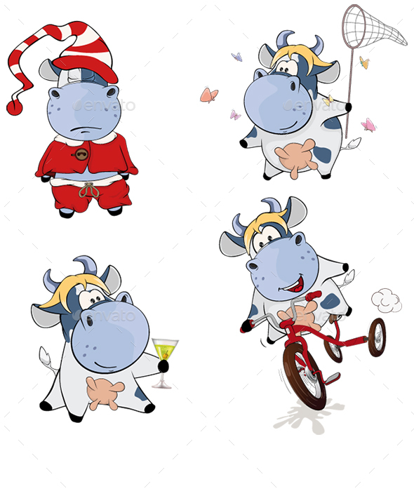 Set of Cartoon Cows for your Design  - Animals Characters