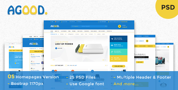 Agood - Multi-Purpose eCommerce PSD Template - Retail PSD Templates