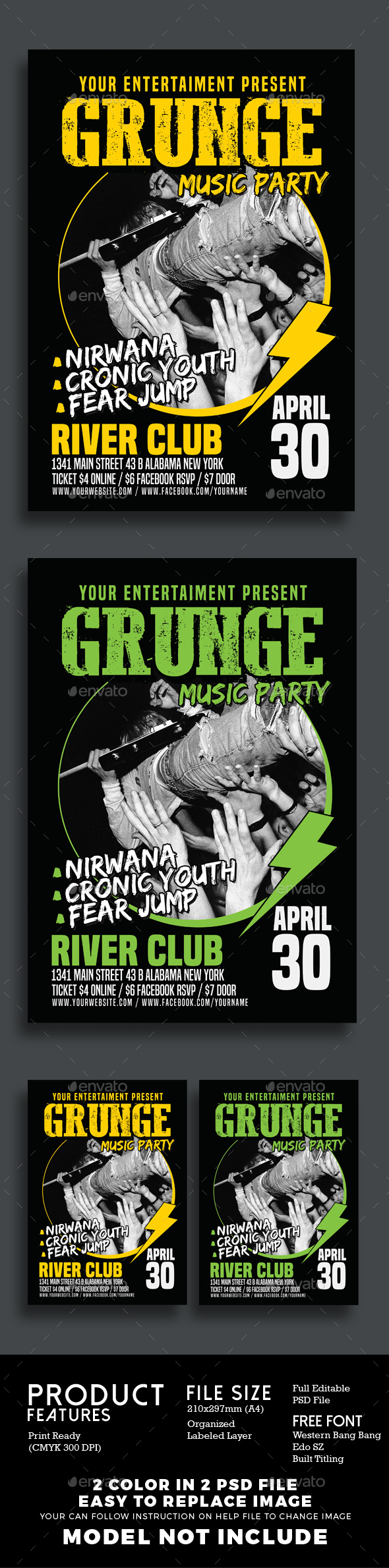 Grunge Music Party Poster Flyer - Events Flyers