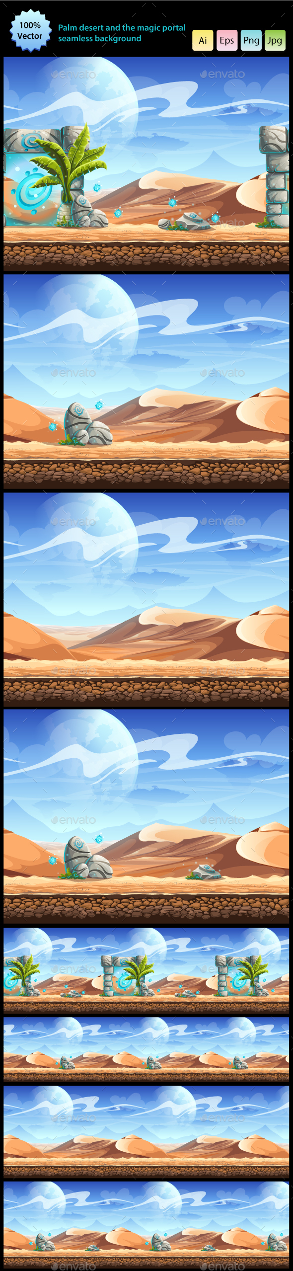 Palm Desert and the Magic Portal Seamless Background - Backgrounds Game Assets