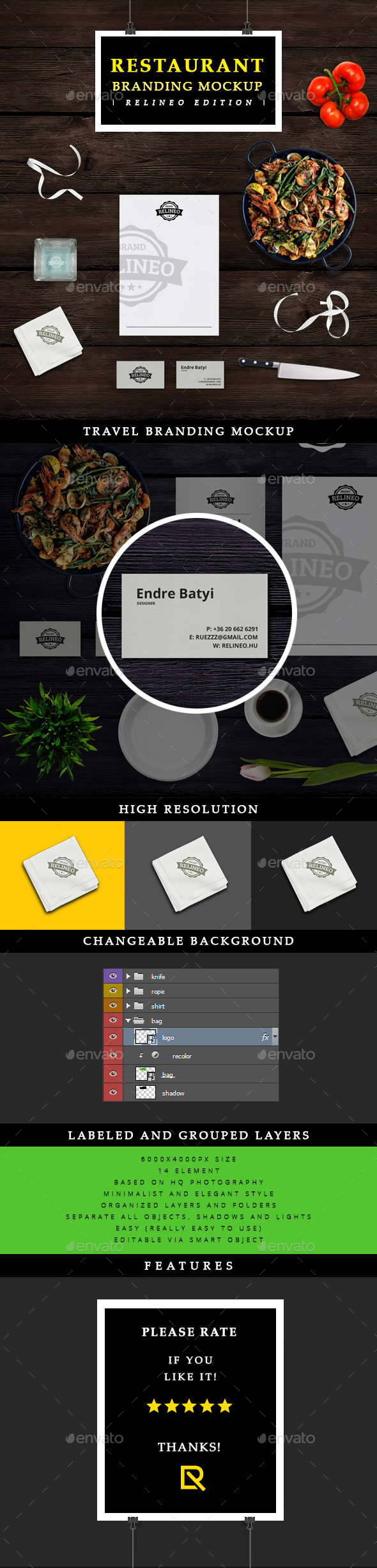 Restaurant Brand Identity Mock-up - Miscellaneous Product Mock-Ups