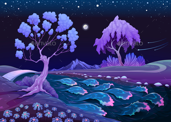 Astral Landscape with Trees and River in the Night - Landscapes Nature