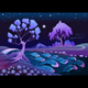 Astral Landscape with Trees and River in the Night - GraphicRiver Item for Sale