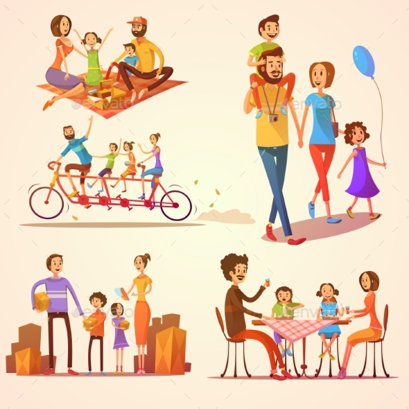 Family Retro Cartoon Set - Concepts Business