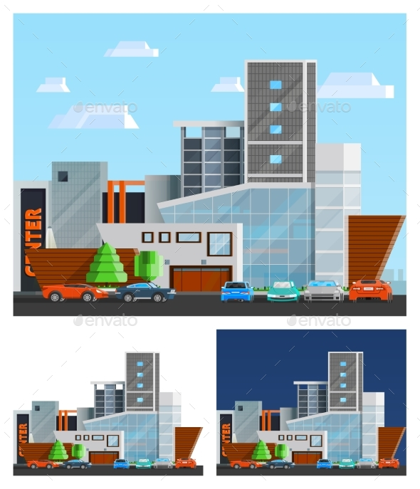 Shopping Mall Building Compositions Set - Commercial / Shopping Conceptual