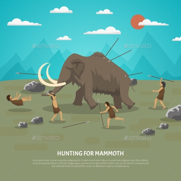 Mammoth Hunting Illustration - Animals Characters