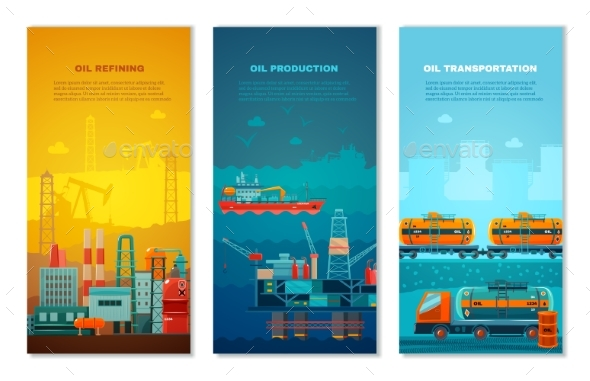 Petroleum Industry Vertical Banners Set  - Industries Business