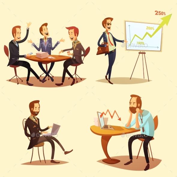 Businessmen Cartoon Icons Set  - Concepts Business