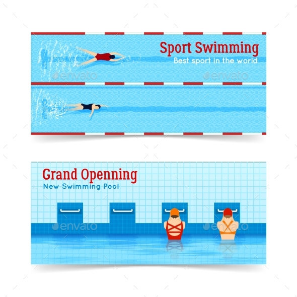 Sport Swimming Grand Openning Banners Set - Sports/Activity Conceptual