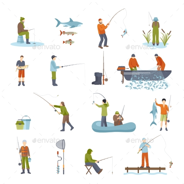 Fishing People Fish And Tools Icons Set - People Characters