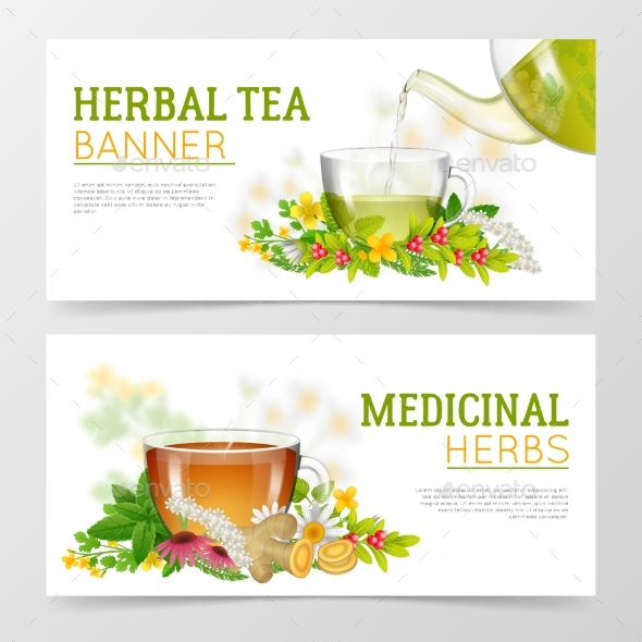 Herbal Tea And Medicinal Herbs Banners - Health/Medicine Conceptual