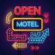 Neon Motel Cafe And Bar Signs Set