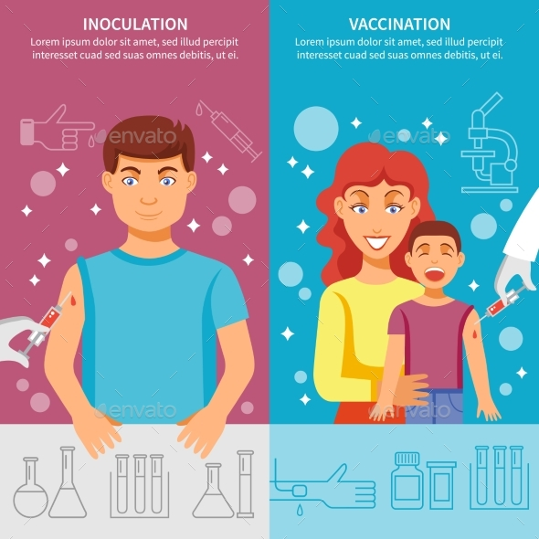 Child And Adult Vaccination Banner Set - Health/Medicine Conceptual