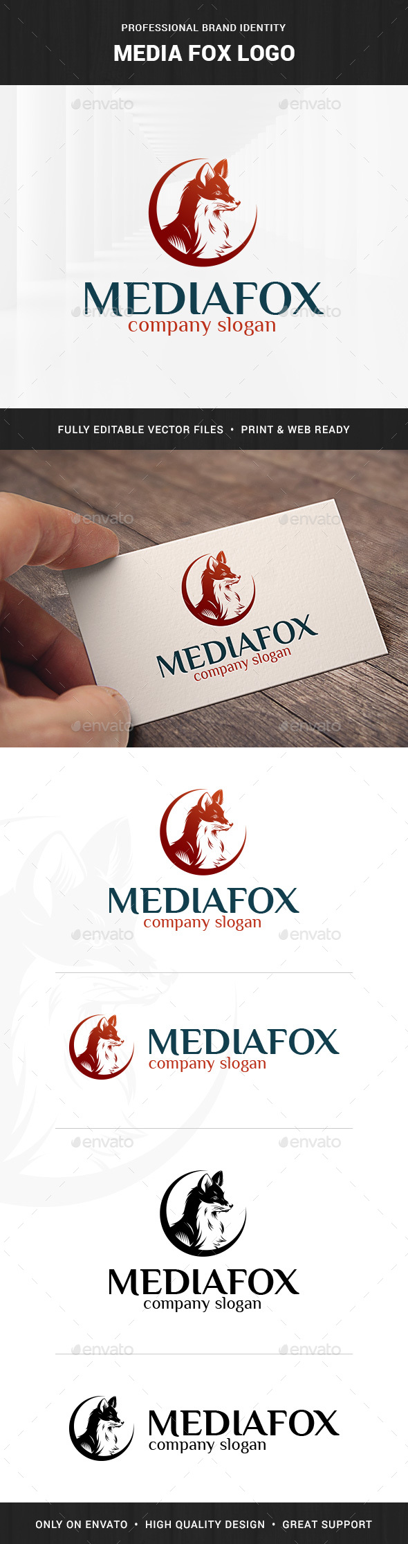 Media Fox Logo Template - Animals Logo Templates