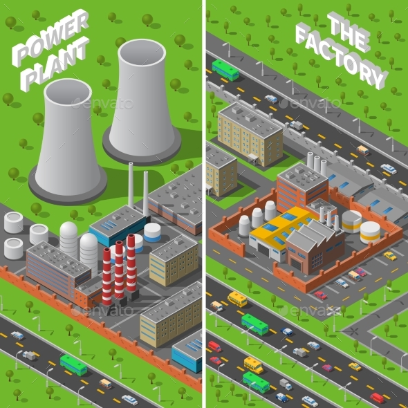 Factory Plant Industrial Isometric Vertical - Miscellaneous Conceptual