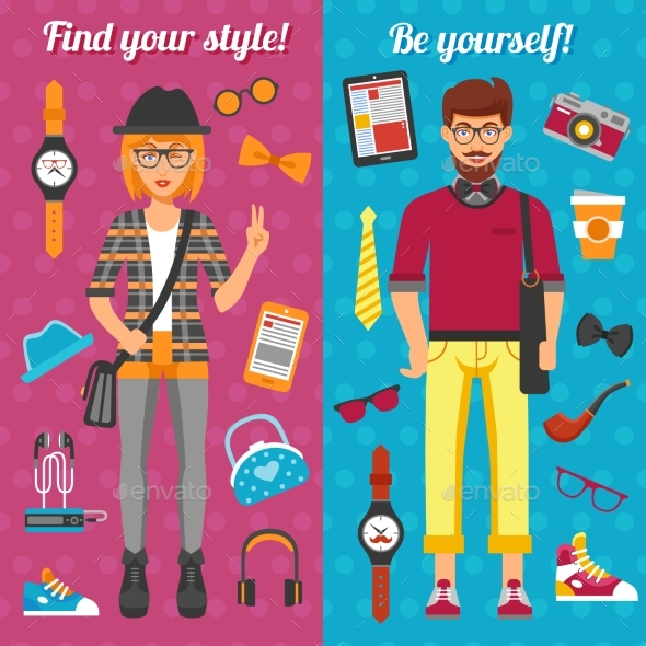 Hipster Boy And Girl Vertical Banners  - People Characters