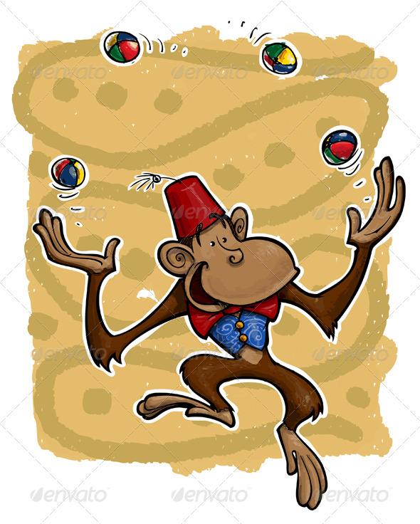 Joggling Monkey - Characters Vectors