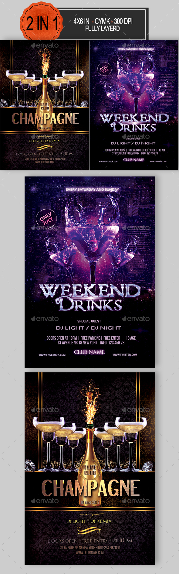 Drinks Party Flyer Bundle - Clubs & Parties Events