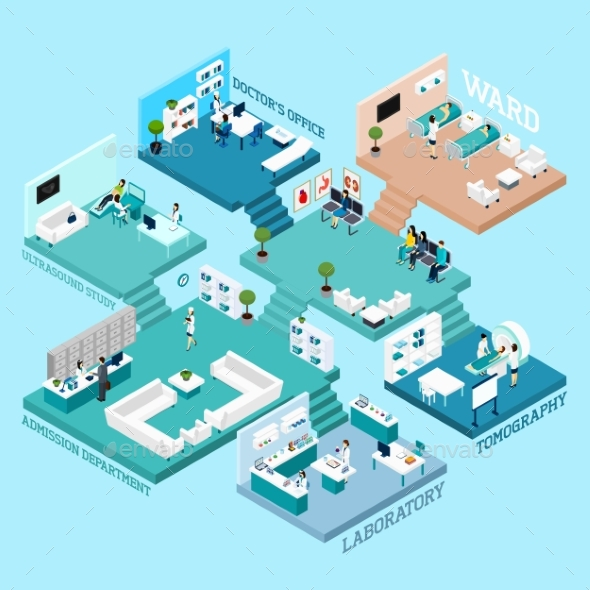 Hospital Isometric Scheme Icons - People Characters