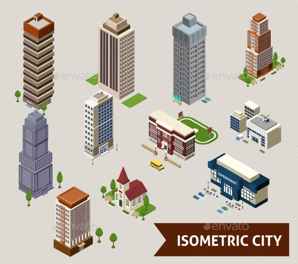 Isometric City Isolated Icons - Buildings Objects