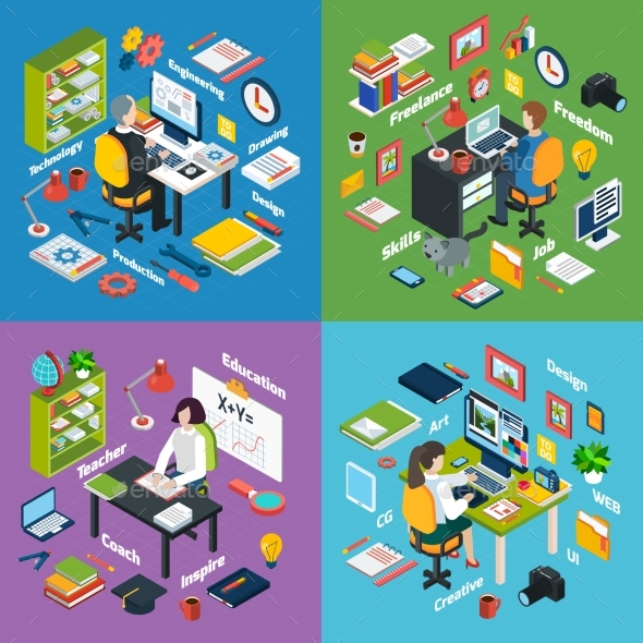 Professional Workplace Isometric 4 Icons Square  - Miscellaneous Vectors