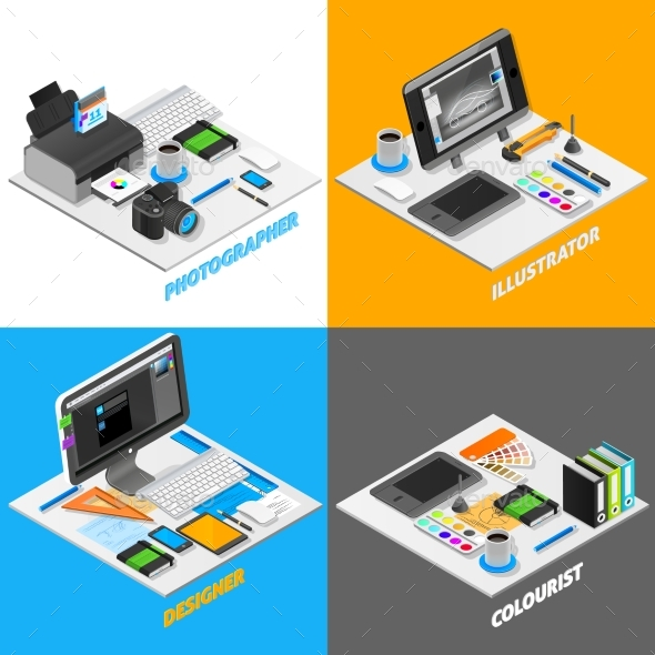 Graphic Design Concept Isometric Set - Media Technology