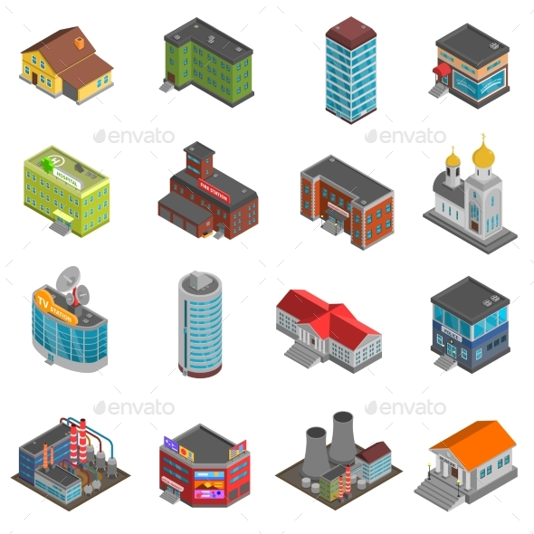 City Buildings Isometric Icons Set  - Buildings Objects