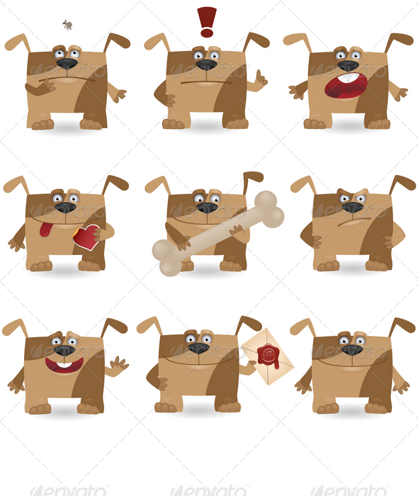 Funny cartoon dogs - Animals Characters