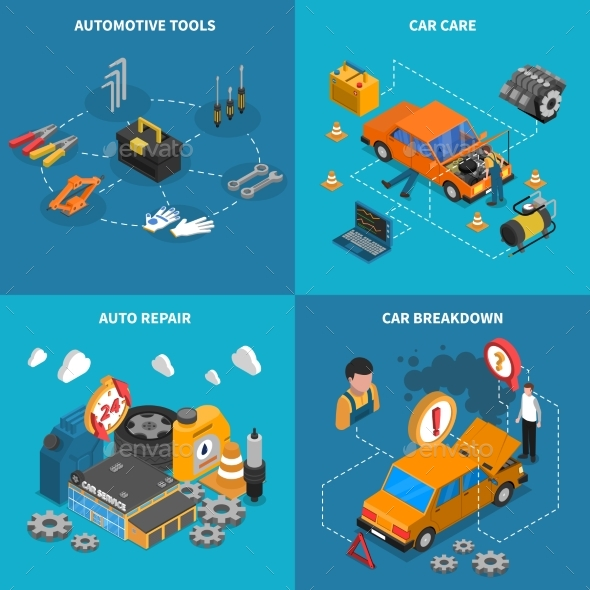 Car Service Isometric Conceptual  Icon Set - Services Commercial / Shopping