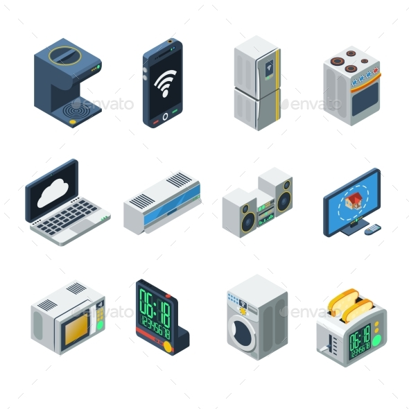 House Appliances Isometric Set - Man-made Objects Objects