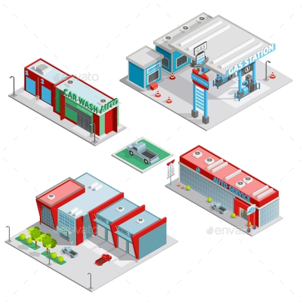 Car Service Center Buildings Isometric Composition - Buildings Objects