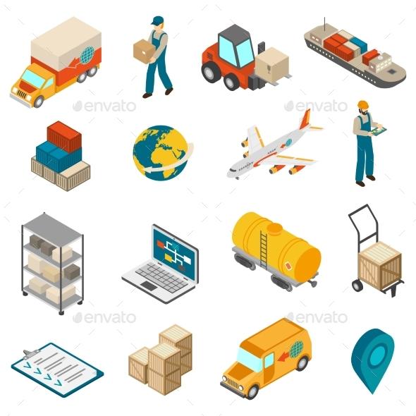 Logistics Transportation Symbols Isometric Icons - Miscellaneous Conceptual