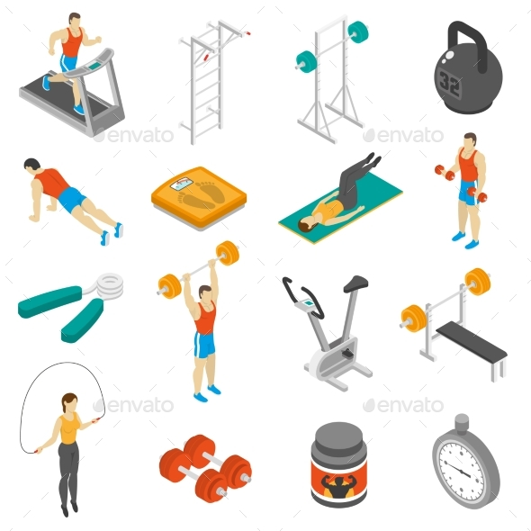 Fitness Isometric Icons Set  - Miscellaneous Icons
