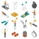 Fitness Isometric Icons Set