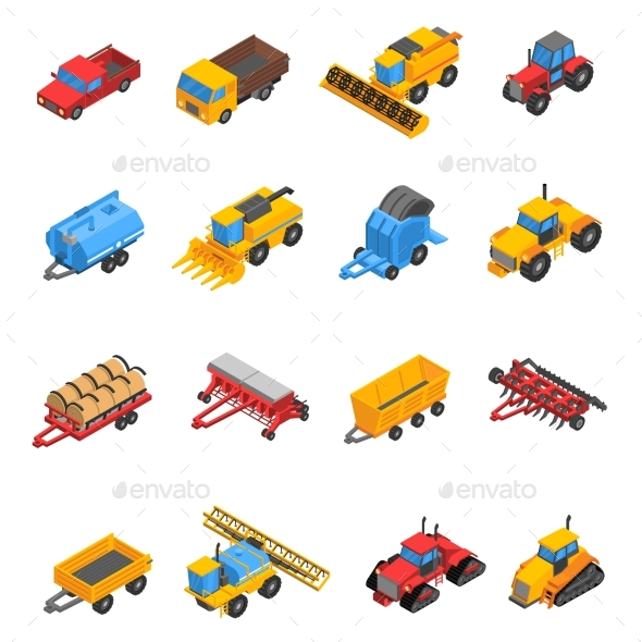 Agricultural Machines Isometric Icon Set - Decorative Symbols Decorative