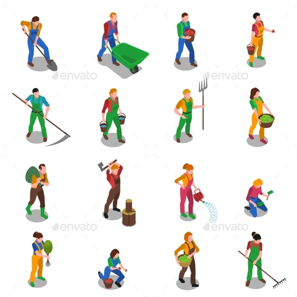 Farmers At Work Isometric Icons Set - Miscellaneous Characters