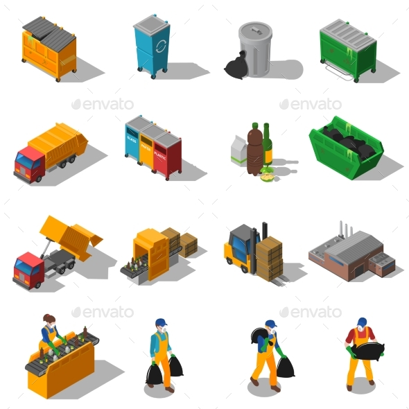 Garbage Recycling Isometric Icons Collection  - Miscellaneous Icons