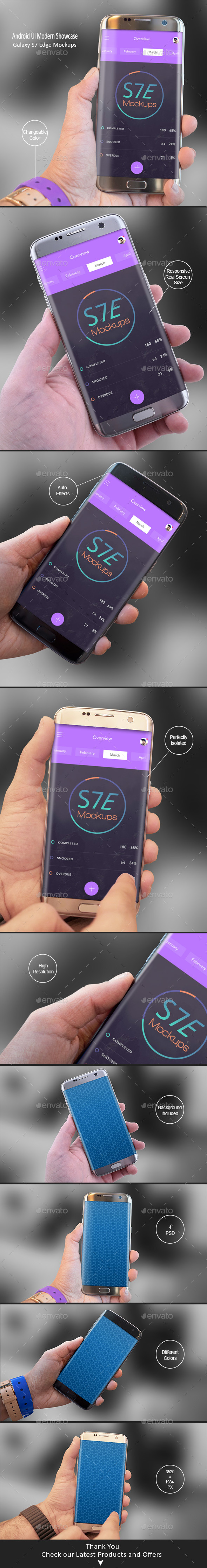 Android Modern Mockups S7 Edge - Apps Ui Showcase - Mobile Displays