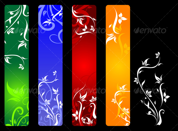 Banners with flowers - Flourishes / Swirls Decorative