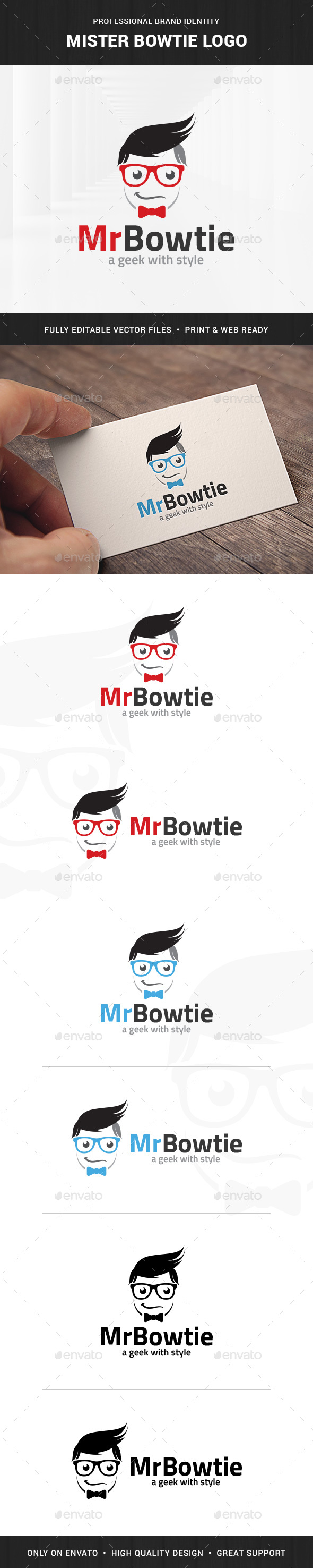 Mister Bowtie Logo Template - Humans Logo Templates