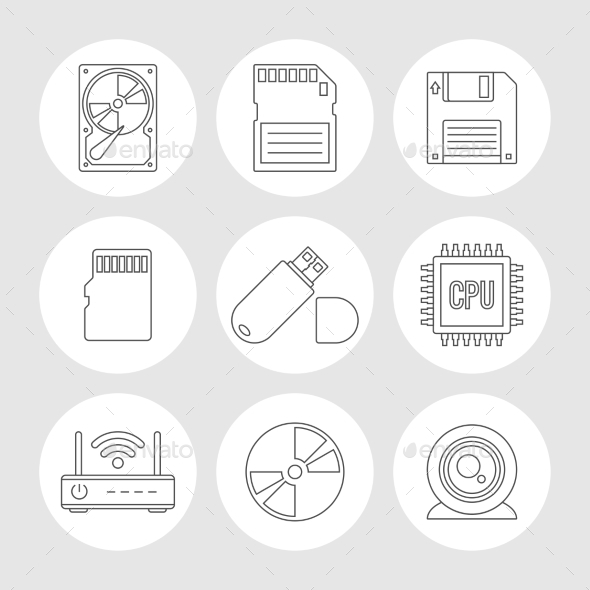 Data Storage Outline Icons - Technology Icons