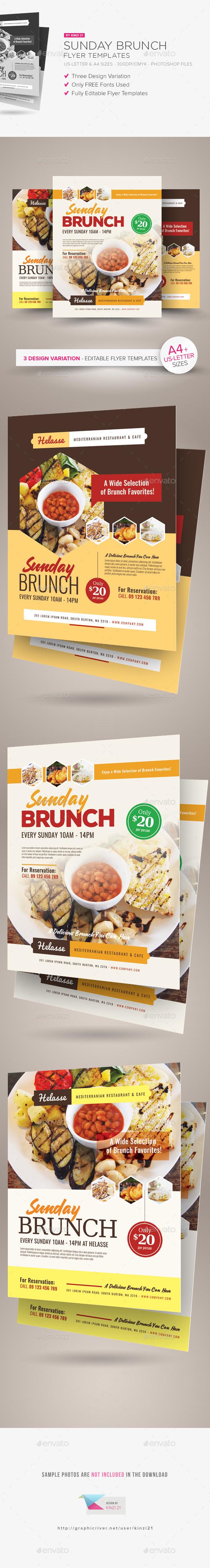 Sunday Brunch Flyer Templates - Restaurant Flyers