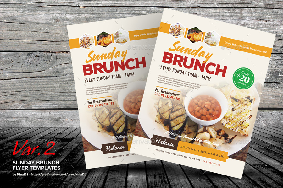 sunday brunch flyer templates by kinzi21