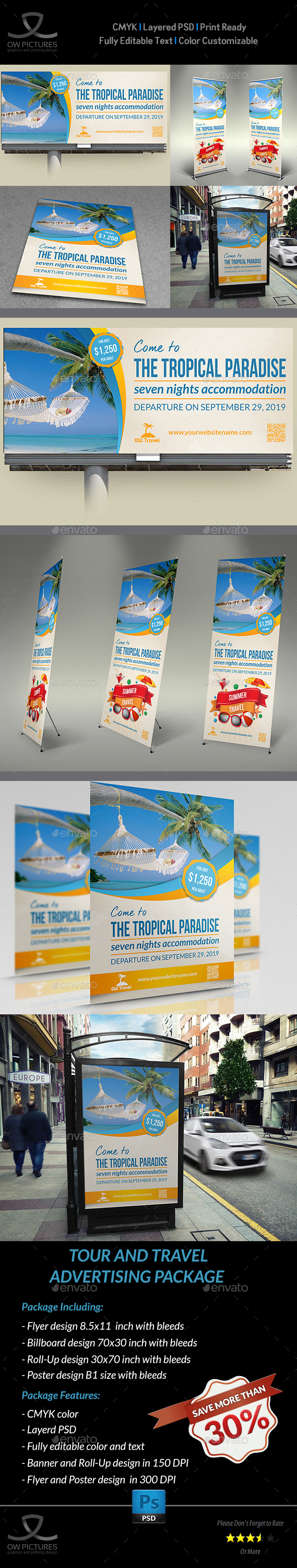 Tour and Travel Advertising Bundle - Signage Print Templates