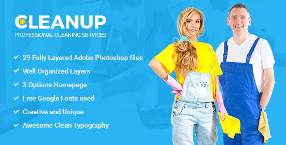 CleanUp - Professional Cleaning Services PSD Template - Miscellaneous PSD Templates