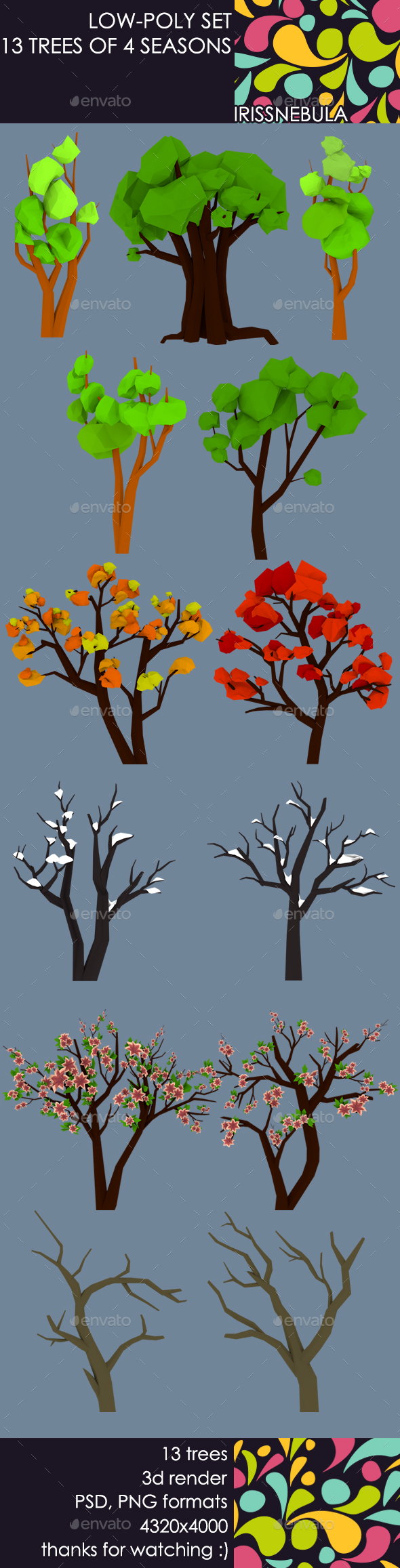 Low-Poly Set 13 Trees of 4 Seasons - Objects 3D Renders