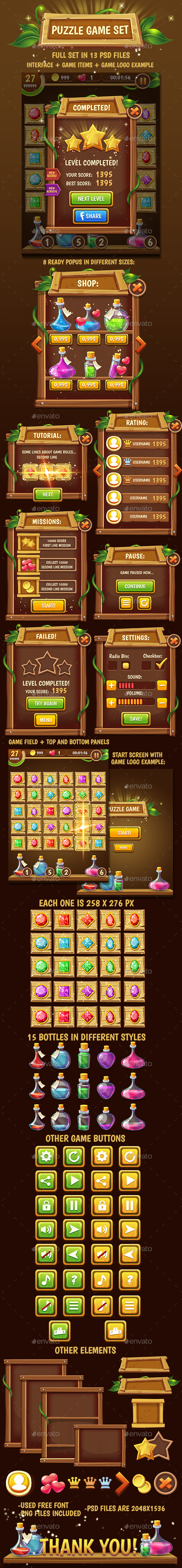 Big Wooden Game Puzzle Set with GUI - Game Kits Game Assets